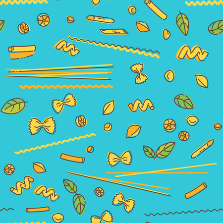 Noodles, pasta and basil seamless pattern on blue background Vectores