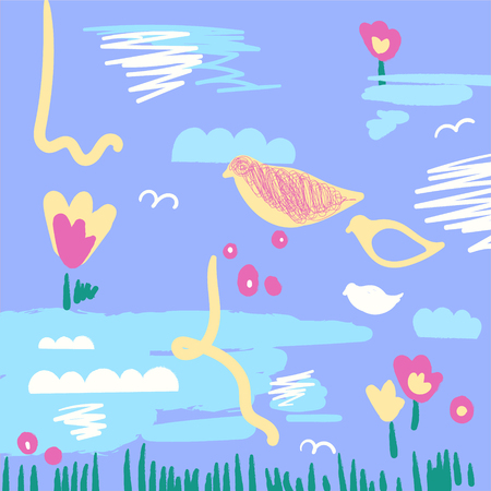 Creative artistic spring illustration with birds and flowers. Hand Drawn abstract background  イラスト・ベクター素材