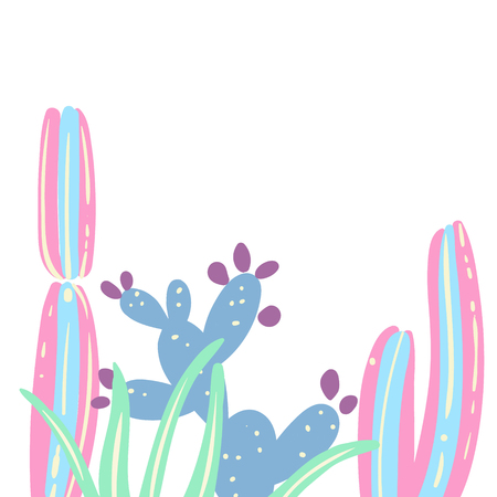 Cactus set creative card. Colorful vector illustration