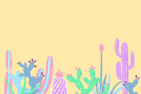 Hand draw cactus and succulents set illustration in pastel colors. Cute cacti doodles