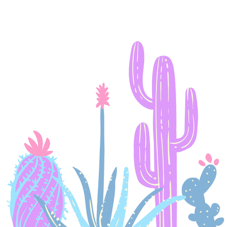 Hand drawn pastel cactuses, succulents. Vector illustration