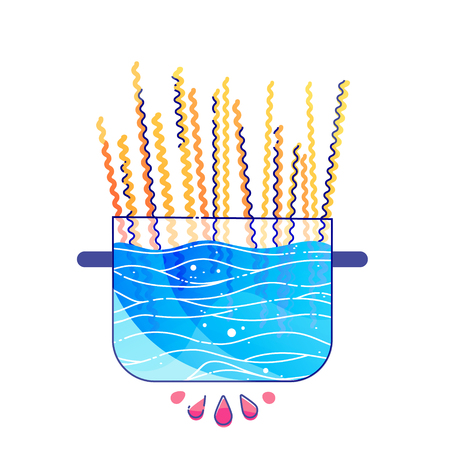 Pasta cooking concept. Noodles in pan with boiling water vector illustration  イラスト・ベクター素材