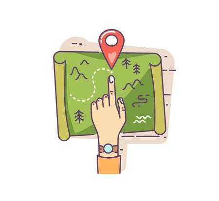 Pianificazione illustrazione vettoriale piatto viaggio di vacanza. Puntamento a mano e pennarello sulla mappa. Navigazione di viaggio e concetto di ricerca della posizione Vettoriali