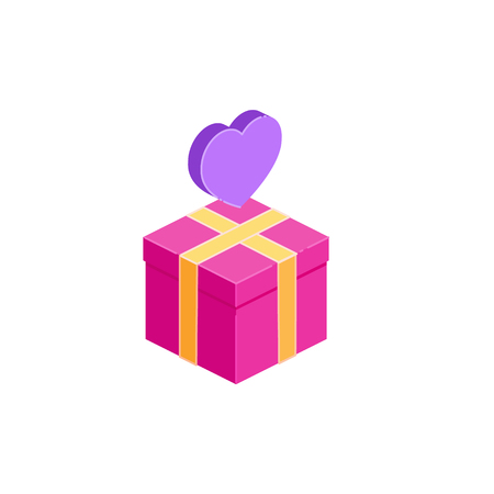 Gift box icon and heart, present concept. Flat isometric vector illustration isolated on white.