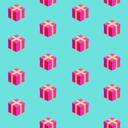Vector isometric gift boxes seamless pattern, bright pink presents on blue background  イラスト・ベクター素材