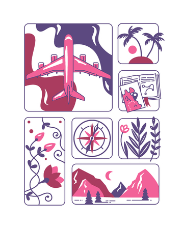 Travel and adventure concept. Flat vector illustrations with map, plain, mountains, palm trees, jungle plants and nature landscapes