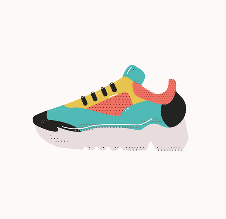 Modern sneakers isolated on white background. Running shoes. Sport flat vector illustration