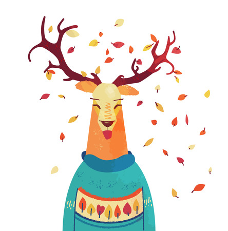 Cute autumn raindeer in sweater. Colorful leaves in deer horns. Fall concept. Vector illustration