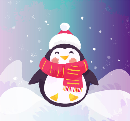 Cute penguin in hat and scarf. Christmas cartoon funny character vector illustration.