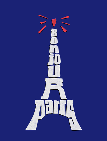 Bonjour Paris phrase. Eiffel tower typography with texture vector illustration. Travel concept.