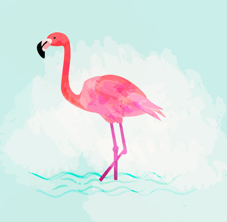 Pink flamingo vector illustration. Tropical bird character on pastel background