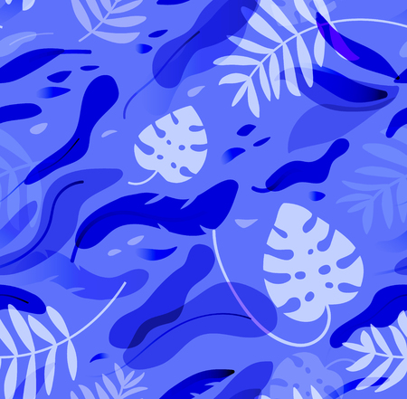 Tropical leaves seamless pattern. Floral vector background in blue.