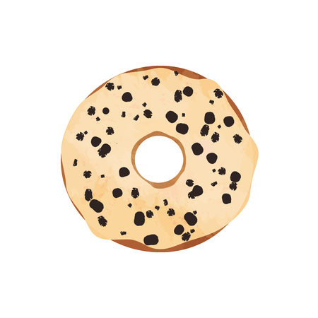 Donut with glaze and chocolate drawn isolated on white background . Vector illustration