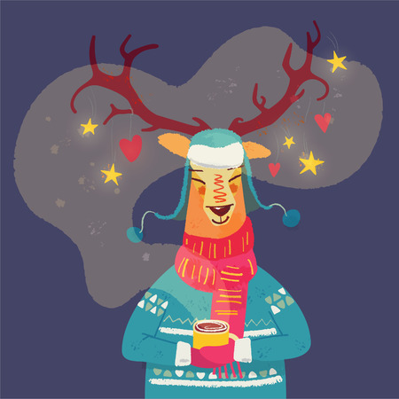 Cute reindeer with coffee mug Christmas greeting card