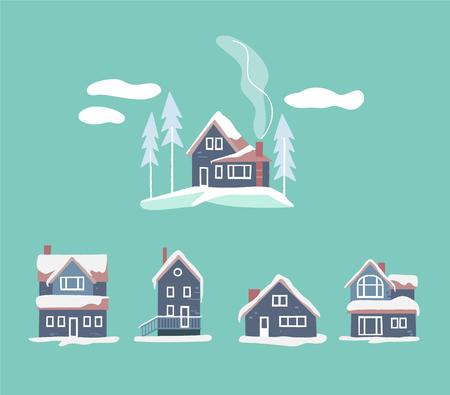 Cozy winter houses set. Snowy vector landscape