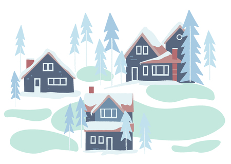 Winter snowy houses and nature vector illustration. Иллюстрация