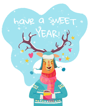 New year greeting card with cheerful reindeer. Cute winter character illustration