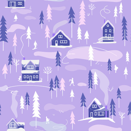 Winter snowy landscape with houses, trees and people. Vector seamless pattern. Endless background  イラスト・ベクター素材