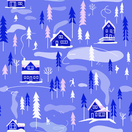 Winter village landscape. Vector seamless pattern. Houses and winter activities. Endless background