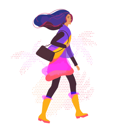 Vector illustration with stylized girl walking in the street.