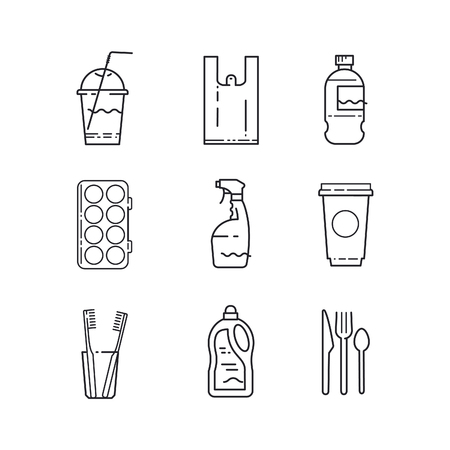 Plastic recycling items simple line icon set. Packaging, cup, bag, container, bottle, brush, straw Stop plastic pollution