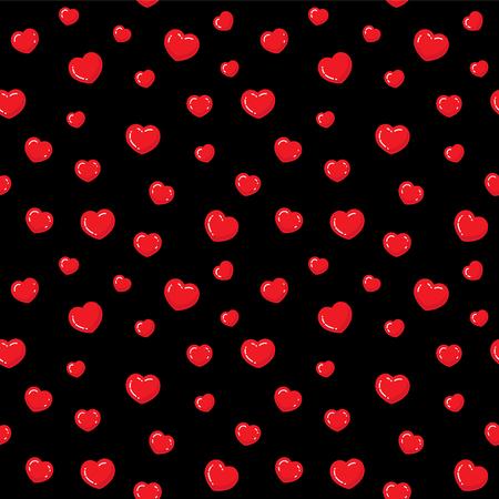 플랫 하트 완벽 한 패턴입니다. 빨간색과 검은색 끝 없는 벡터 일러스트 레이 션. 사랑 로맨틱 배경