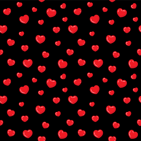 Flat hearts seamless pattern. Red and black endless vector illustration. Love romantic background