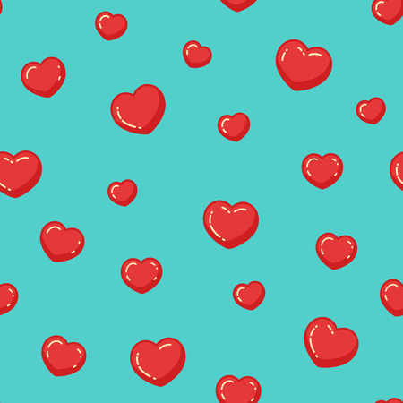 Flat hearts seamless pattern. Endless vector illustration. Love romantic background