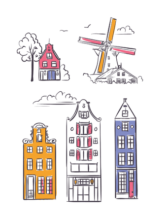 Amsterdam houses and windmill in sketchy style. Traditional old buildings in Netherlands  イラスト・ベクター素材