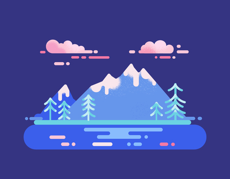 National Park landscape. Mountain range and lake travel destination concept. Vector illustration with wild nature  イラスト・ベクター素材