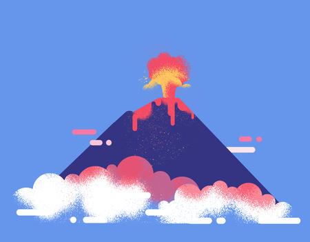 Ilustración de vector plano de erupción de volcán. Flujo de lava y cenizas. Concepto de exploración de la naturaleza salvaje.