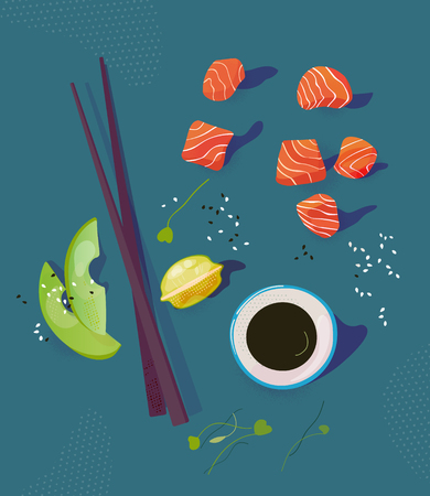 Poke bowl ingredients vector illustration. Salmon peaces, avocado, chopsticks and soy sause. Healthy food concept. Top view  イラスト・ベクター素材