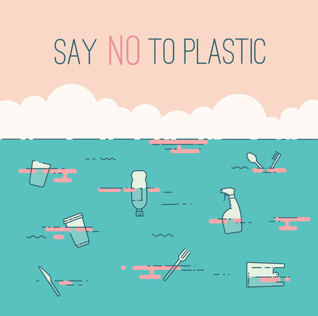 Say no to plastic text and waste in the ocean. Pollution problem concept. Simple liniar flat style vector illustration