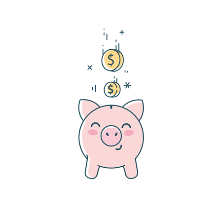Piggy bank icon. Cute saving pig and falling coins linear flat illustration.