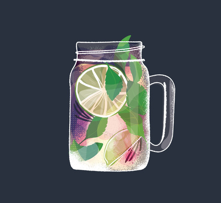 Cocktail with lemon and mint. Lemonade or mojito, cold refreshing drink or beverage with ice vector illustration