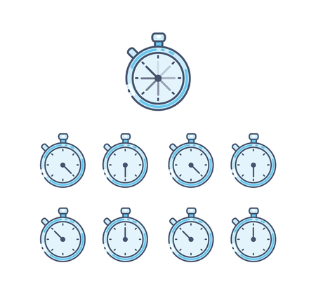 Stopwatch icon set in flat style. Timer symbol isolated vector illustration  イラスト・ベクター素材