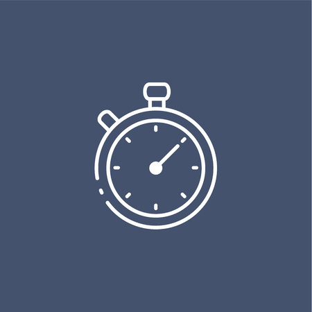 Simple line timer icon isolated on dark background. Fast time concept  イラスト・ベクター素材