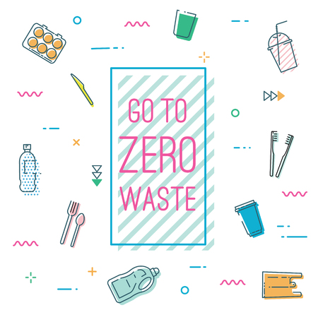 Go to zero waste banner in Memphis style.  イラスト・ベクター素材