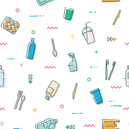 Seamless pattern with different kinds of plastic waste.