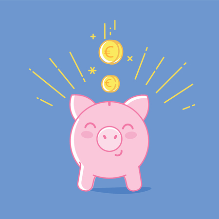 Piggy bank iconon blue background. Cute saving pig and falling coins linear flat illustration