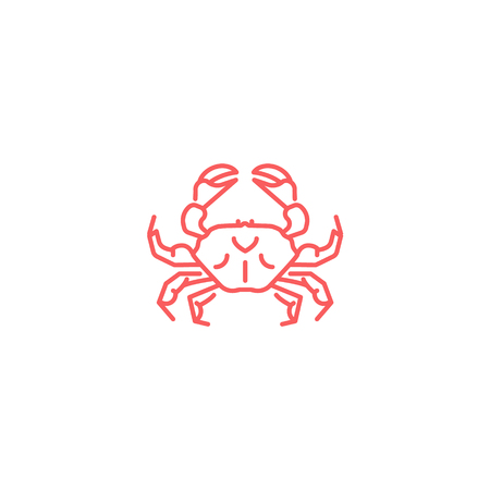 Simple flat red crab icon. Linear slyle