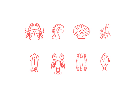 Red linear seafood icon set, flat design  イラスト・ベクター素材