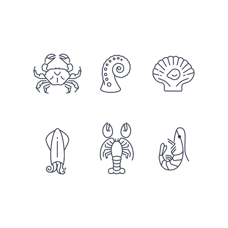 Simple sea animals icon set, vector seafood Ilustração