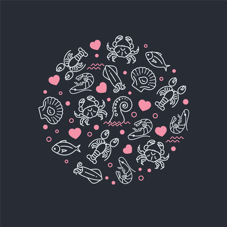 Sea life and heart icons in circle composition