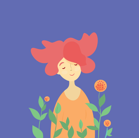 Beautiful happy young woman. Redhead girl and spring blossom. Cute vector garden illustration, invitation, postcard.