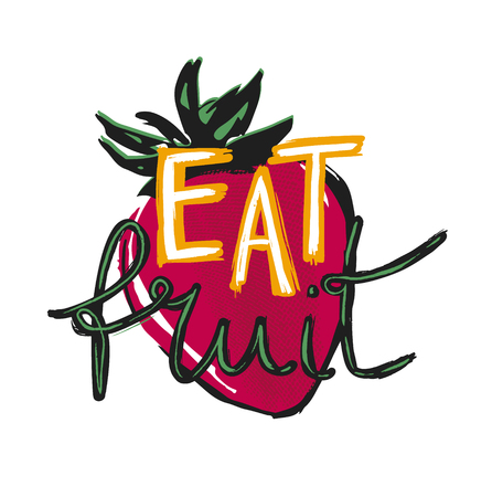 Eat fruit poster with strawberry on white  イラスト・ベクター素材