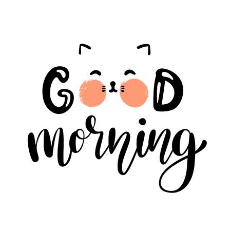 Good morning lettering poster with kitten. Vector illustration