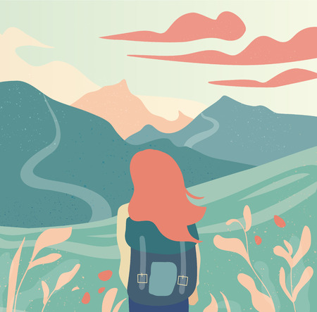 Girl and beautiful mountain landscape vector illustration.