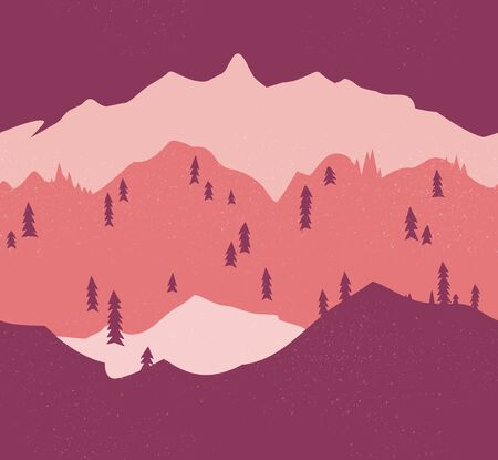 Mountain seamless pattern in red. Endless illustration.  イラスト・ベクター素材