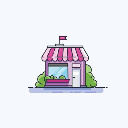Market front facade, flat line icon. Illustration